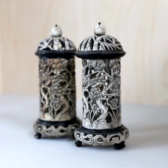 Vintage Marble Hand Carved Candle Holders